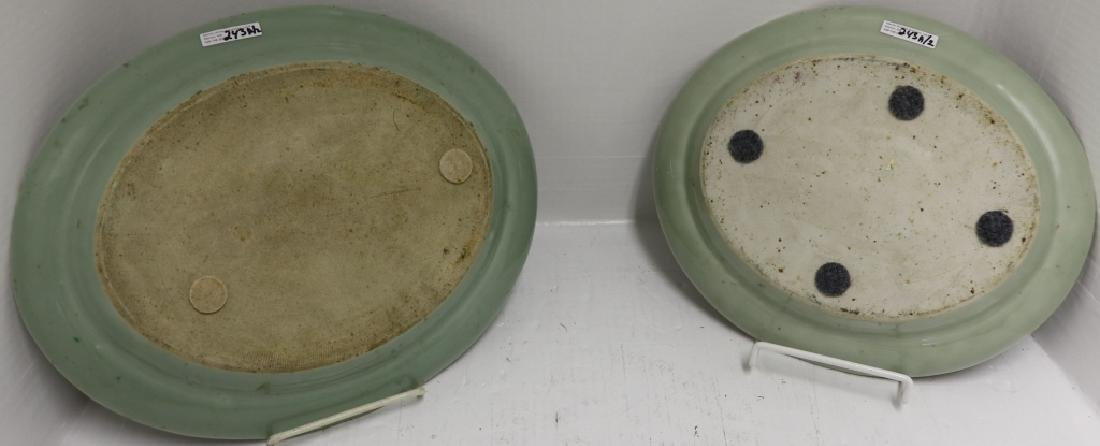 2 SIMILAR ROSE CELADON PLATTERS, 19TH C WITH - 2