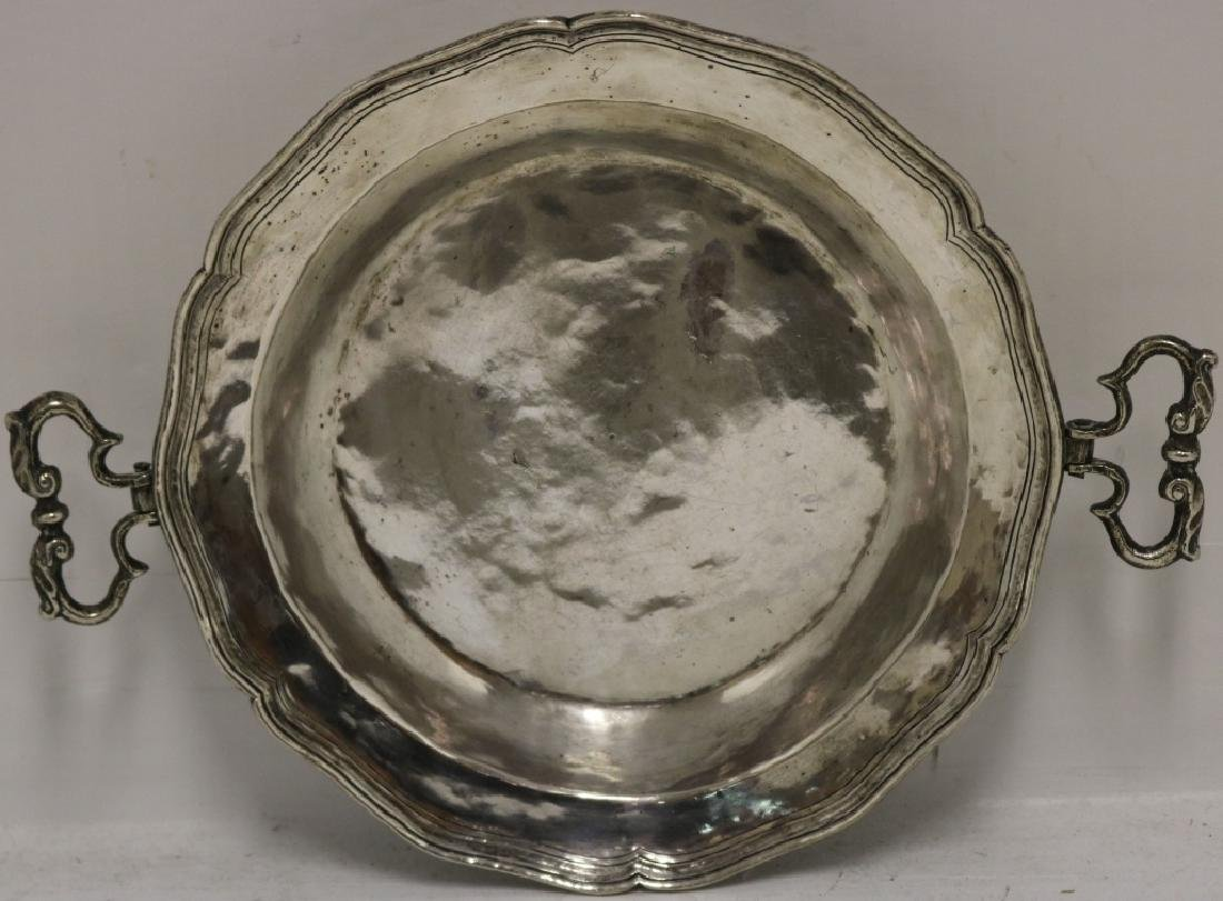 18TH C SPANISH COLONIAL SILVER HANDLED TRAY,