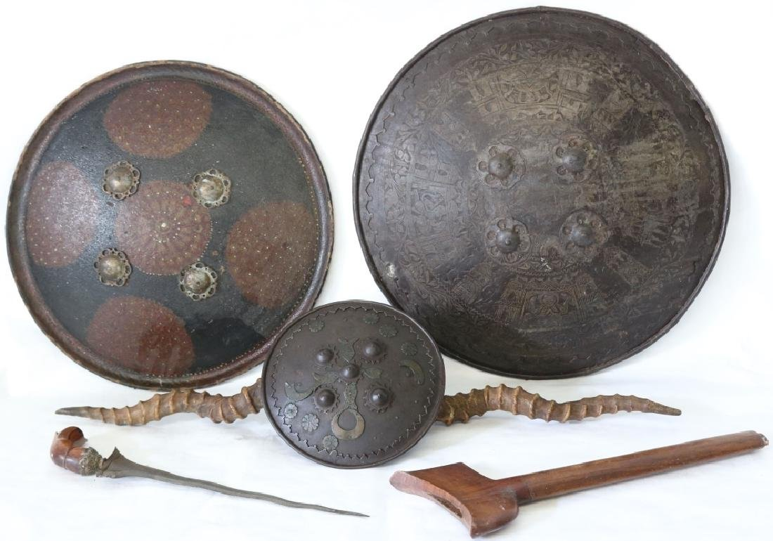"FOUR 19TH C ITEMS TO INCLUDE 18 1/2"" PERSIAN IRON"