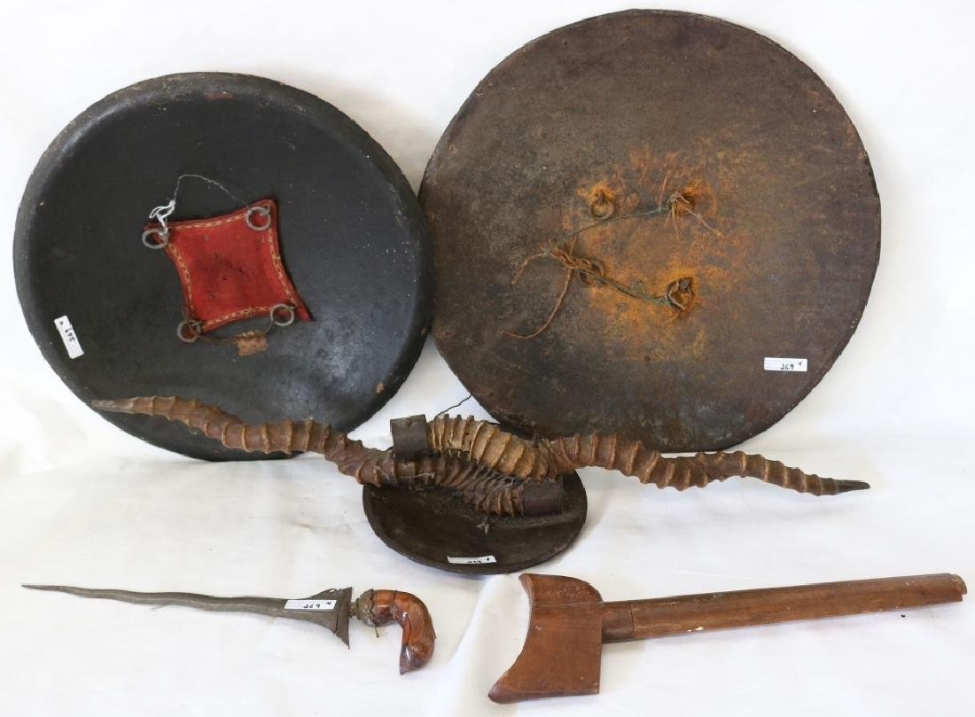 "FOUR 19TH C ITEMS TO INCLUDE 18 1/2"" PERSIAN IRON - 2"