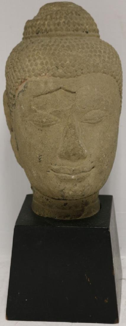19TH C CARVED SANDSTONE BUDDHA MOUNTED ON