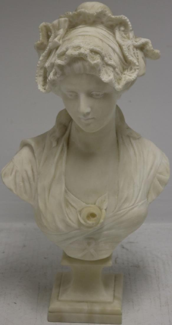 19TH C ALABASTER BUST OF A WOMAN ON A SQUARE