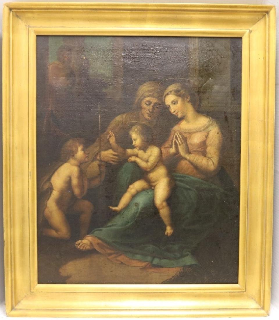 POSSIBLY 18TH C OR EARLIER OIL PAINTING ON CANVAS
