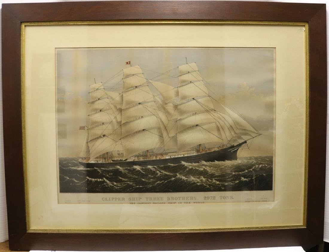 CURRIER AND IVES HAND COLORED LITHOGRAPH, LARGE