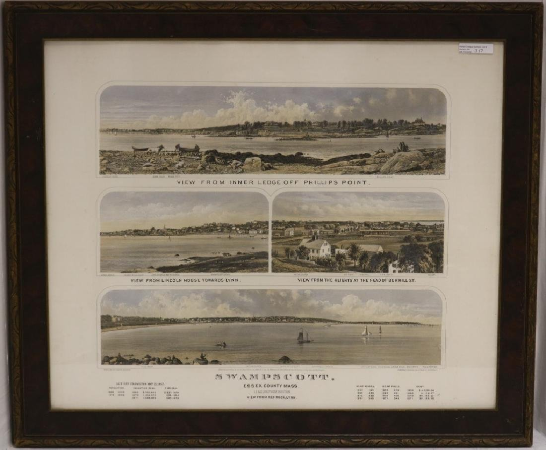 "COLORED LITHOGRAPH TITLED ""SWAMPSCOTT"", 1871 BY"
