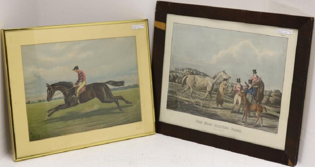 2 EQUESTRIAN PRINTS TO INCLUDE A FRAMED COLORED