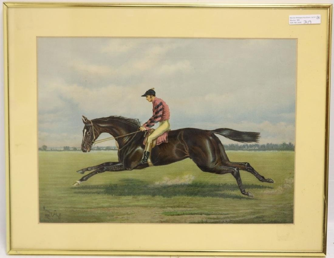 2 EQUESTRIAN PRINTS TO INCLUDE A FRAMED COLORED - 2