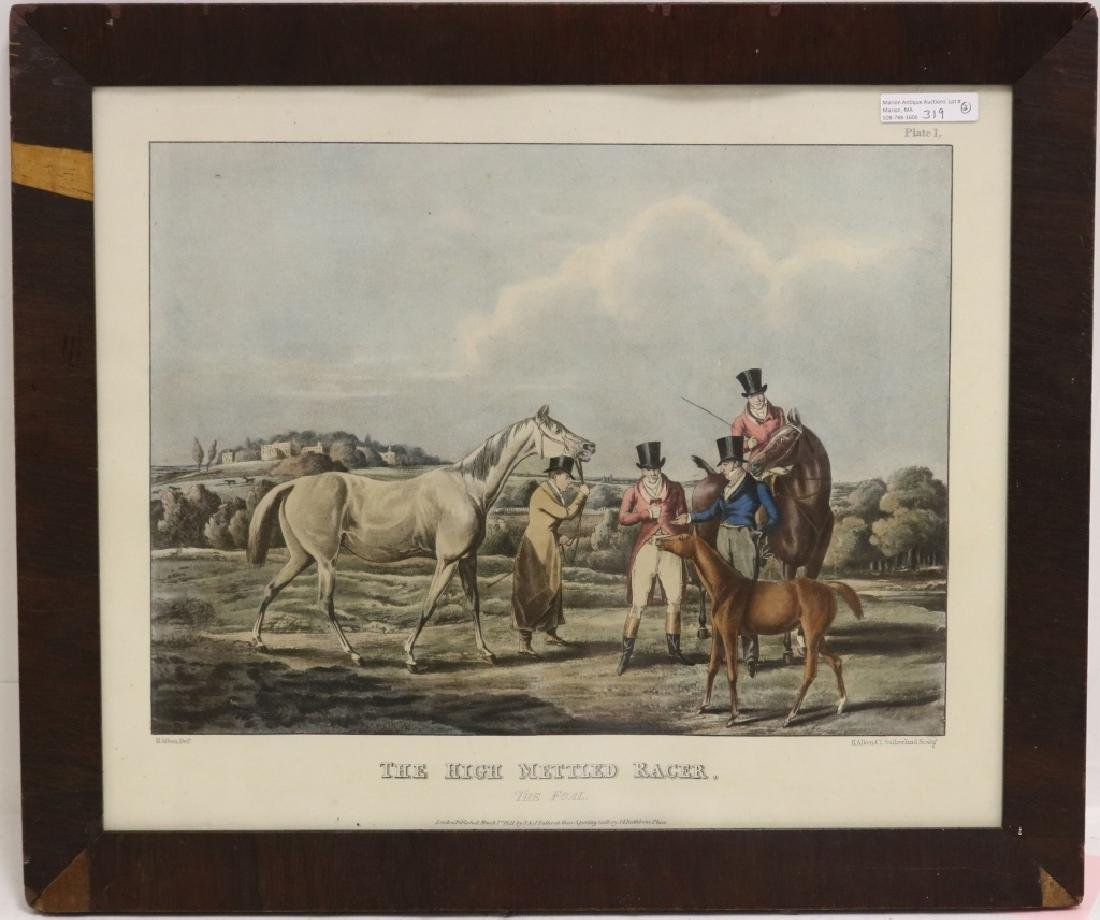 2 EQUESTRIAN PRINTS TO INCLUDE A FRAMED COLORED - 3