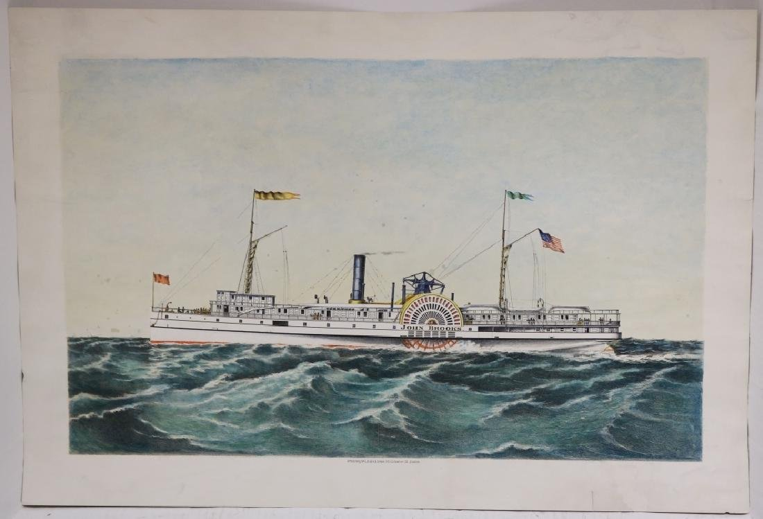 HAND COLORED LITHOGRAPH, 19TH C, OF AMERICAN
