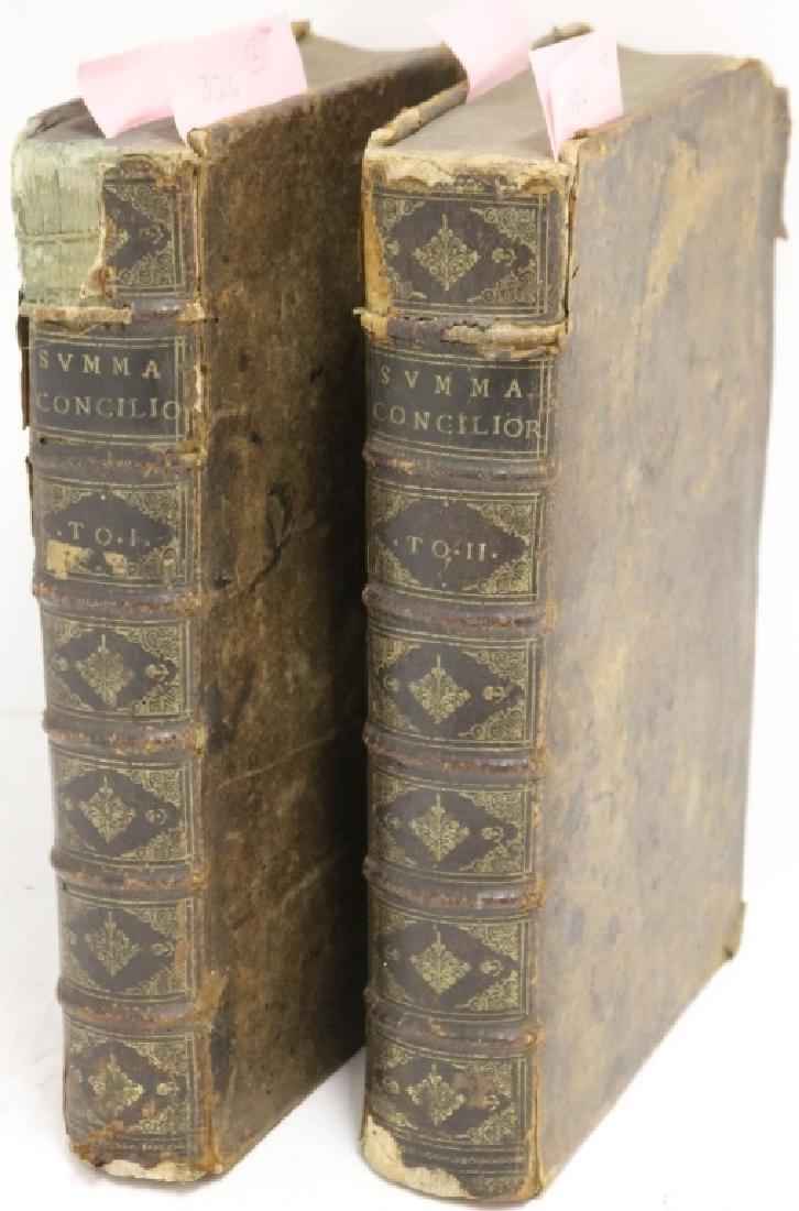 """2 LEATHER BOUND BOOKS TITLED """"SUMMA CONCILIORUM"""
