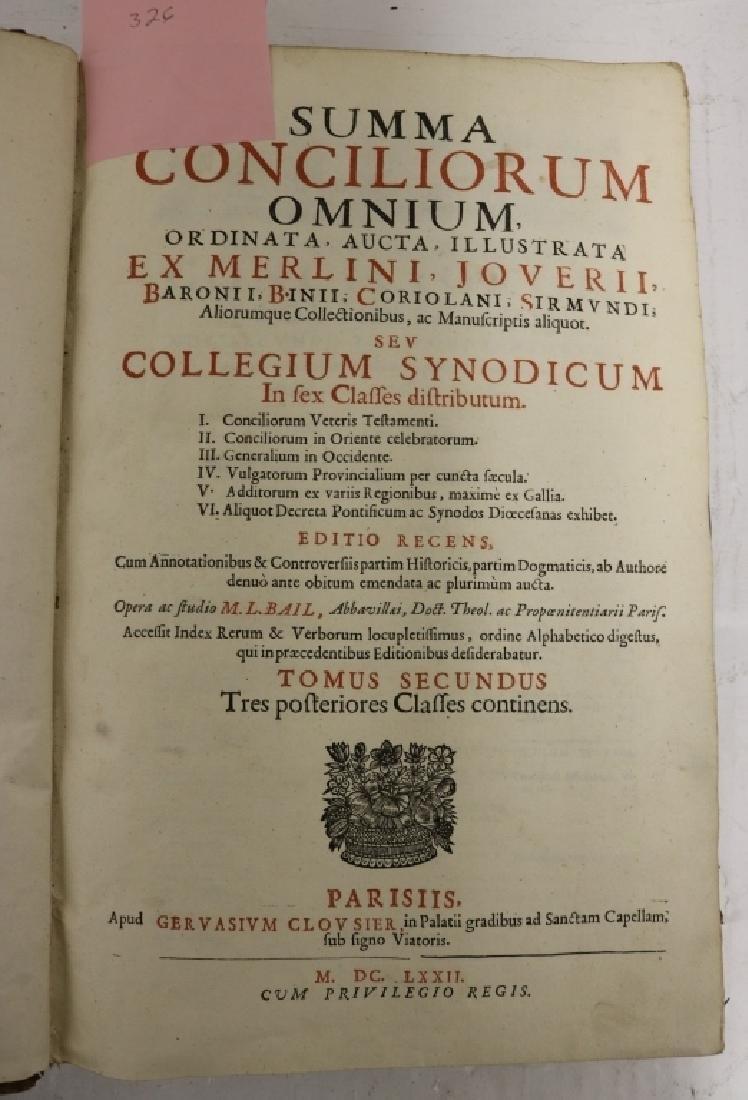"""2 LEATHER BOUND BOOKS TITLED """"SUMMA CONCILIORUM - 2"""