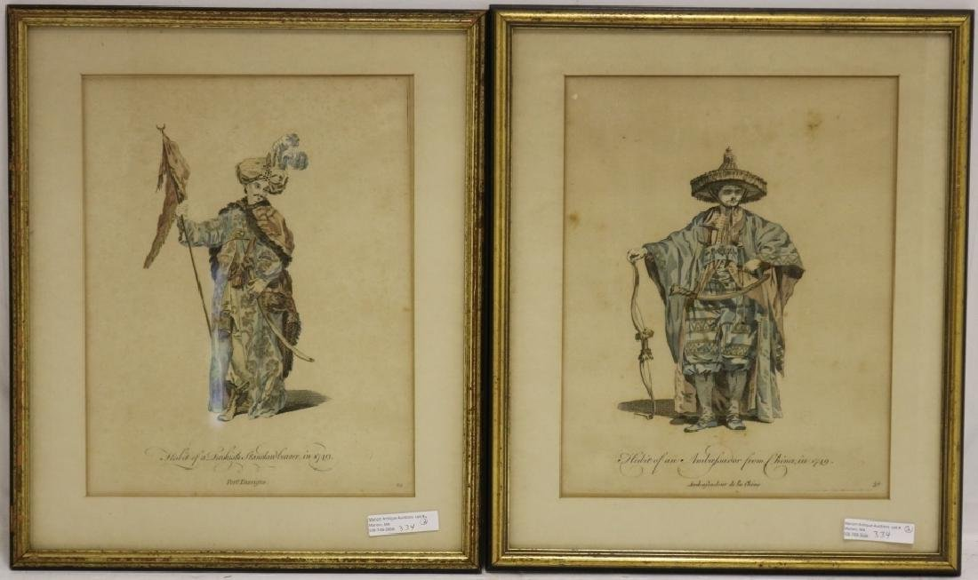 TWO SIMILAR AQUATINT ENGRAVINGS FROM THE