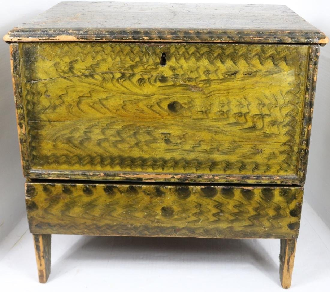EARLY 18TH C PINE GRAIN PAINTED BLANKET CHEST,