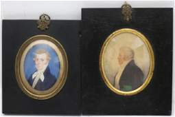 2 SIMILAR EARLY 19TH C MINIATURE PORTRAITS OF