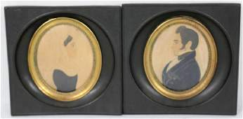2 EARLY 19TH C MINIATURE PORTRAITS, WATERCOLORS