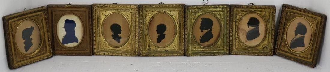LOT OF SEVEN 19TH C SILHOUETTES WITH EMBOSSED