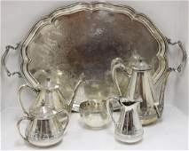 19TH C GORHAM 5 PC STERLING SILVER TEA SET,