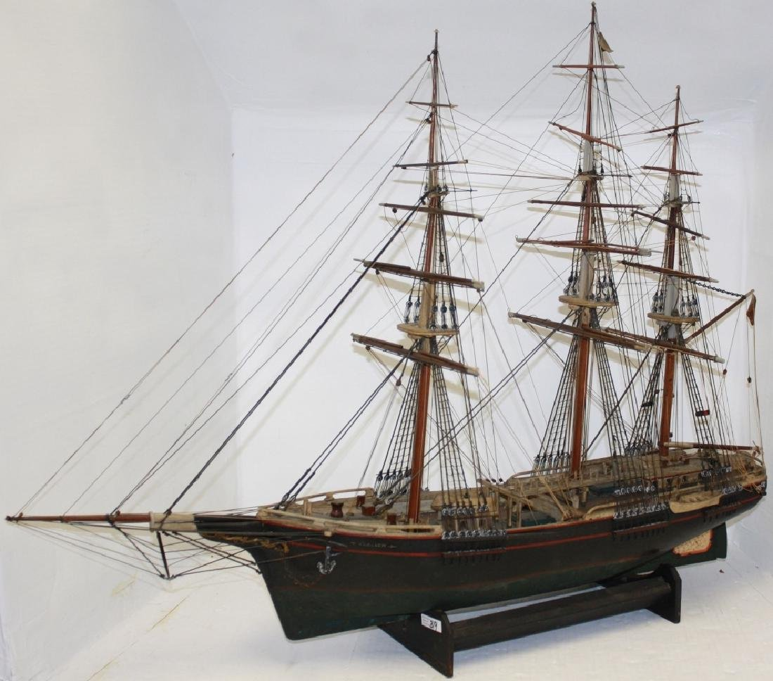 19TH C HANDMADE WOODEN SHIP MODEL OF THE