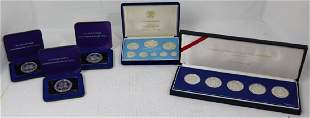 5 FRANKLIN MINT STERLING SILVER PROOF SETS AND