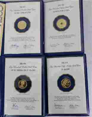 4 FRANKLIN MINT GOLD PROOF COINS TO INCLUDE A