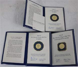 3 FRANKLIN MINT 22KT GOLD PROOF COINS TO INCLUDE