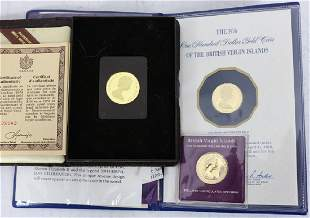 3 FRANKLIN MINT PROOF 22KT GOLD COINS TO INCLUDE