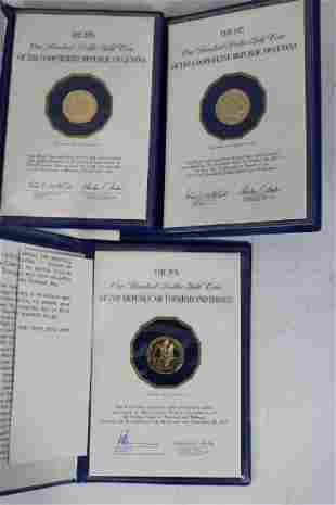3 FRANKLIN MINT 12KT GOLD PROOF COINS TO INCLUDE
