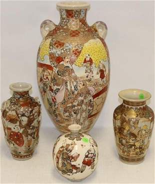 4 EARLY 20TH C SATSUMA VASES WITH WARLORD