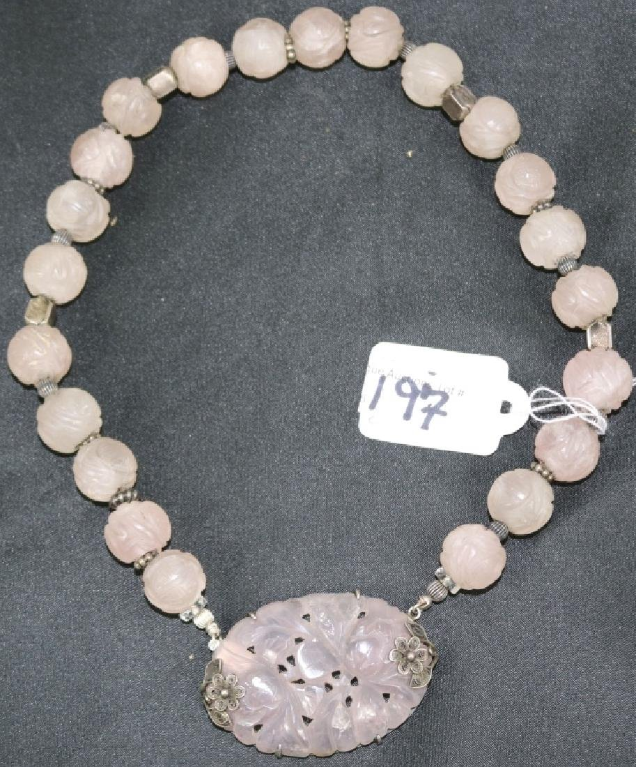 LAVENDER JADE NECKLACE WITH CARVED FLORAL DESIGN