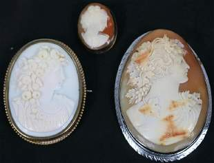3 VICTORIAN CAMEO PINS ONE IS 1 18 ONE IS
