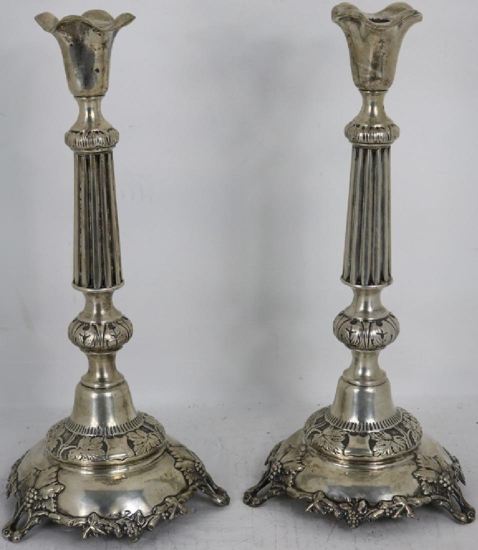 PAIR OF RUSSIAN SILVER CANDLESTICKS, MARKED