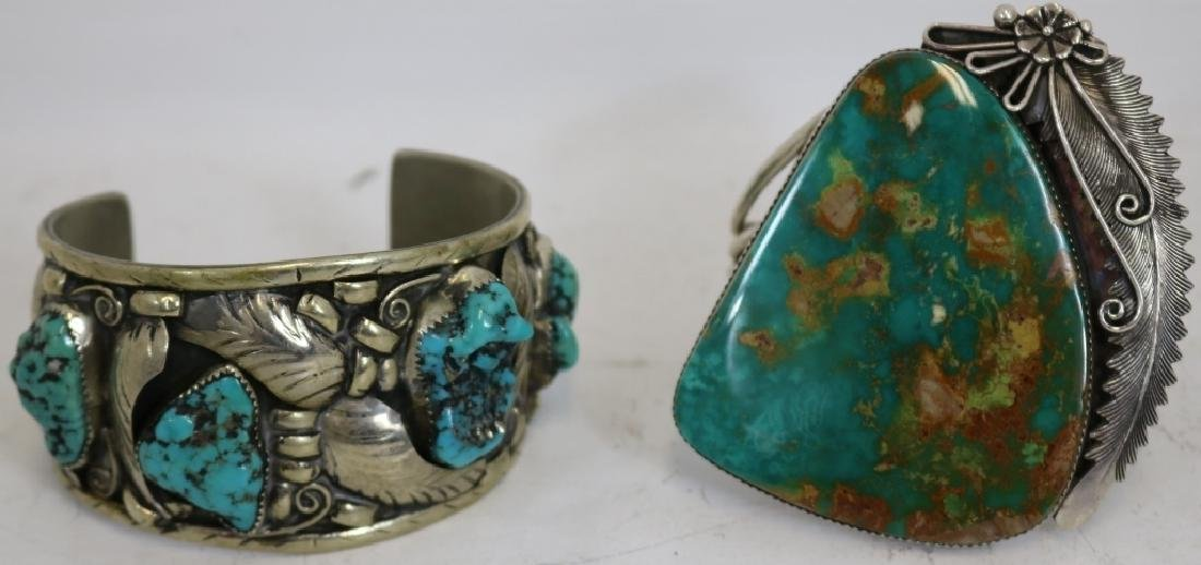 2 NAVAJO STERLING AND TURQUOISE BRACELETS