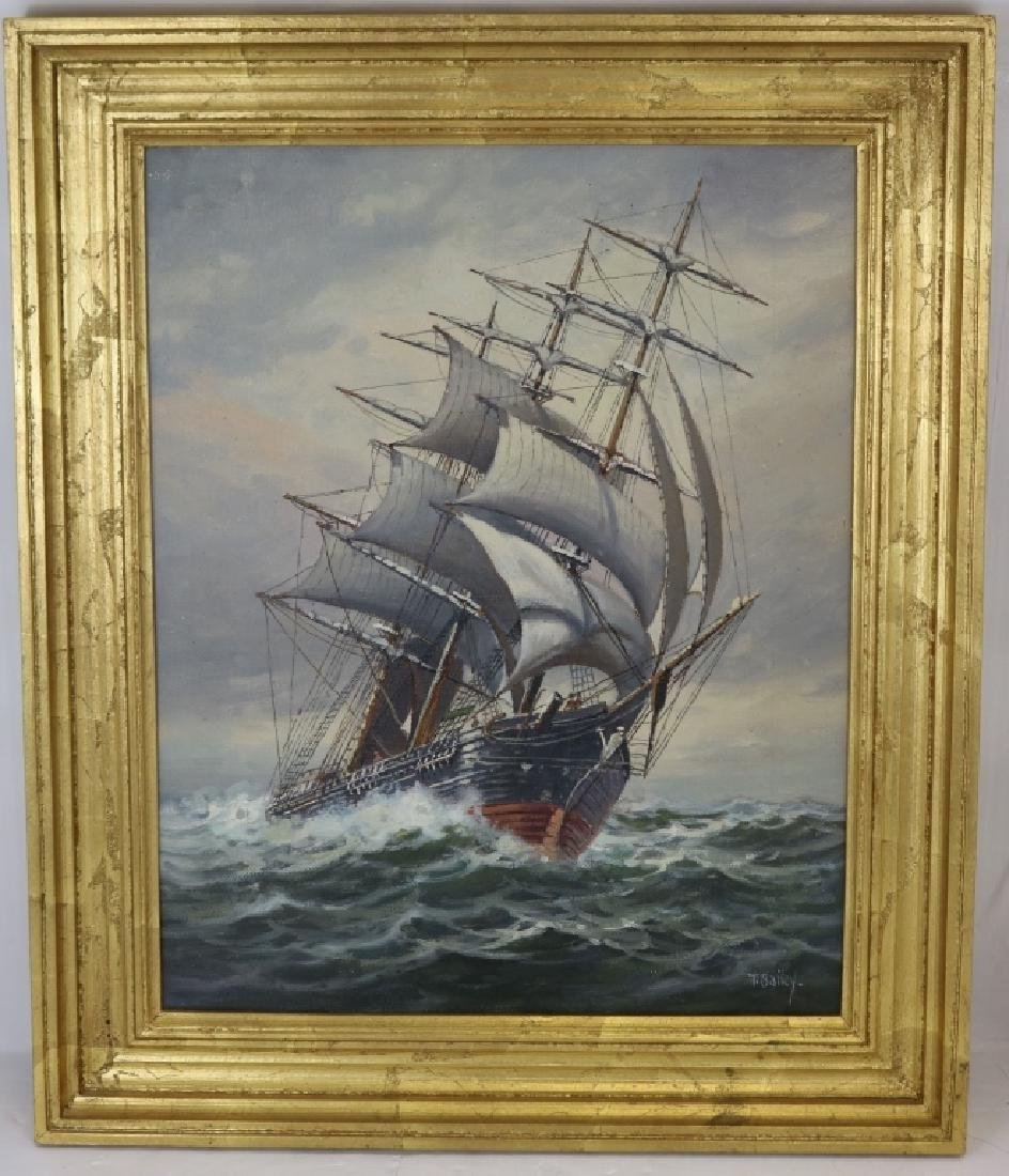 T BAILEY OIL PAINTING ON CANVAS DEPICTING A SHIP
