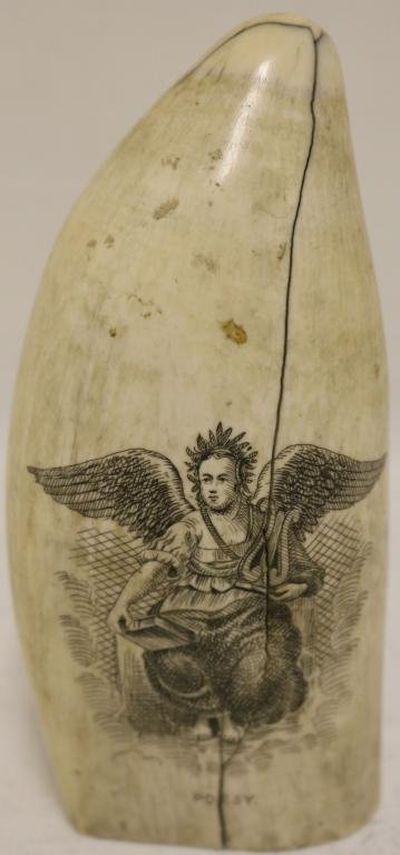 19TH C SCRIMSHAW WHALE TOOTH DEPICTING WINGED