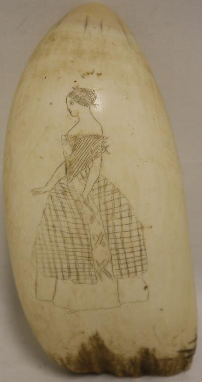 LARGE 19TH C SCRIMSHAW WHALE TOOTH DEPICTING