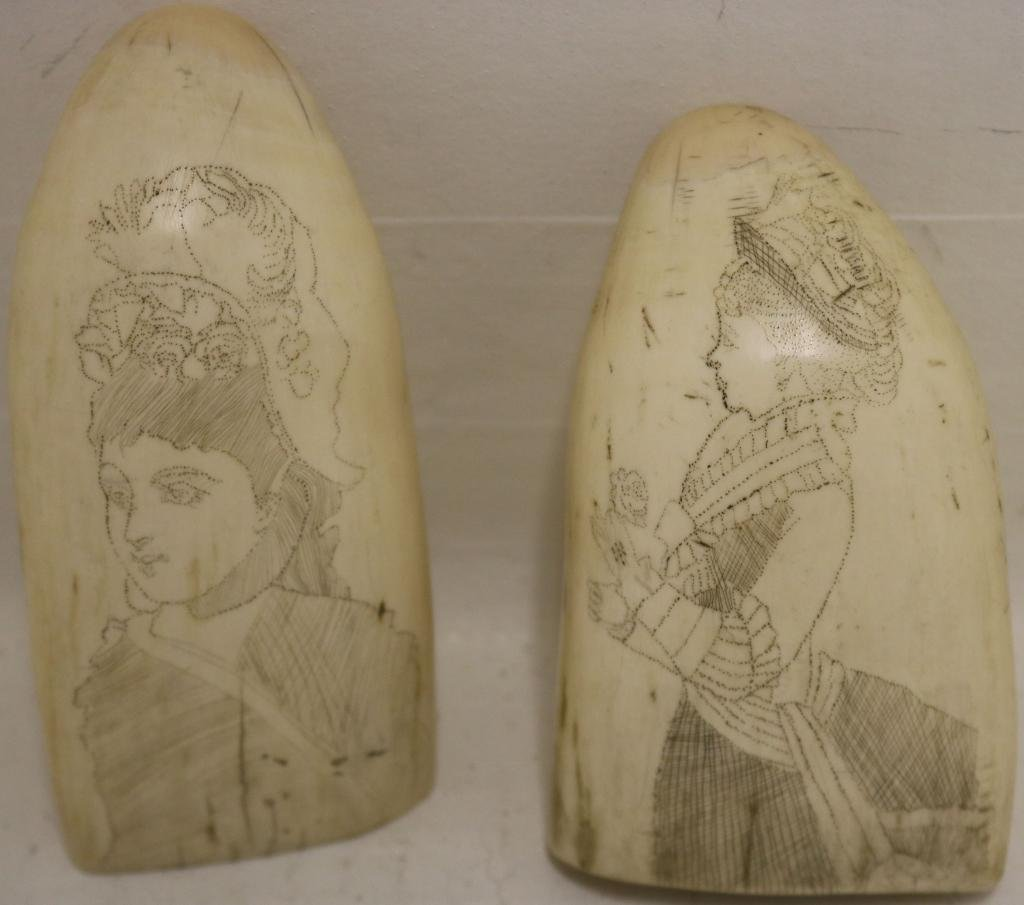 TWO 19TH C SCRIMSHAW WHALE TEETH.  ONE DEPICTS