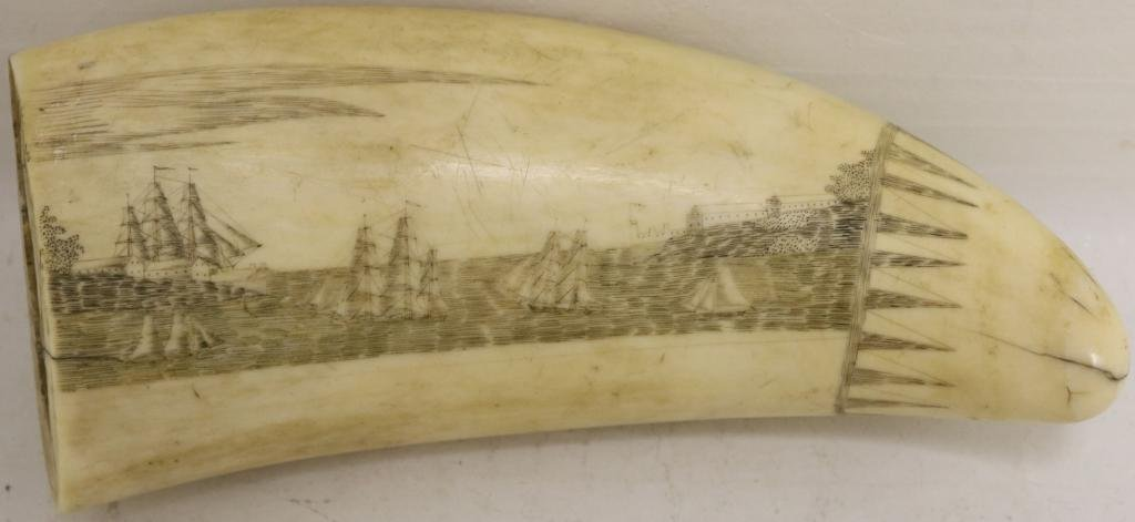 EXCEPTIONAL MID-19TH C WHALE TOOTH DEPICTING