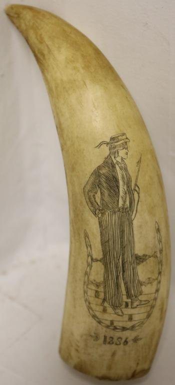 19TH C SCRIMSHAW WHALE TOOTH DEPICTING A