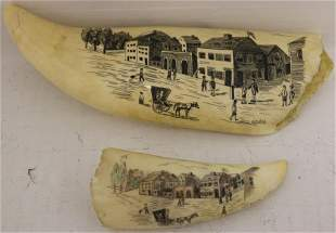 TWO 20TH C SCRMSHAW WHALE TEETH BY NEW BEDFORD