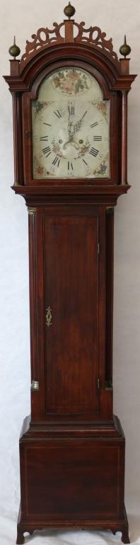 CA. 1800 AMERICAN TALL CASE CLOCK, ELABORATE