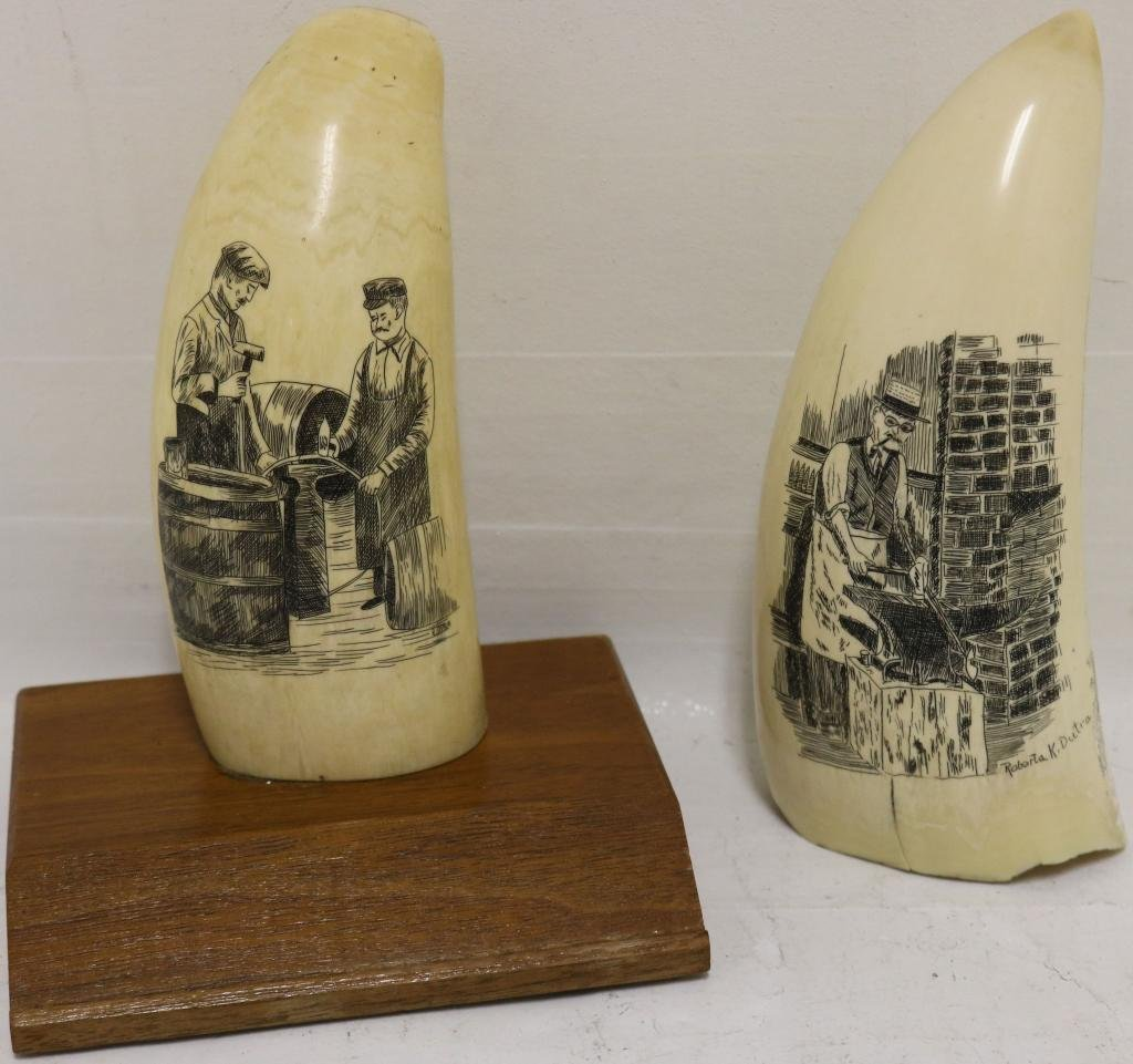 2 LATE 20TH C SCRIMSHAW WHALE TEETH BY NEW