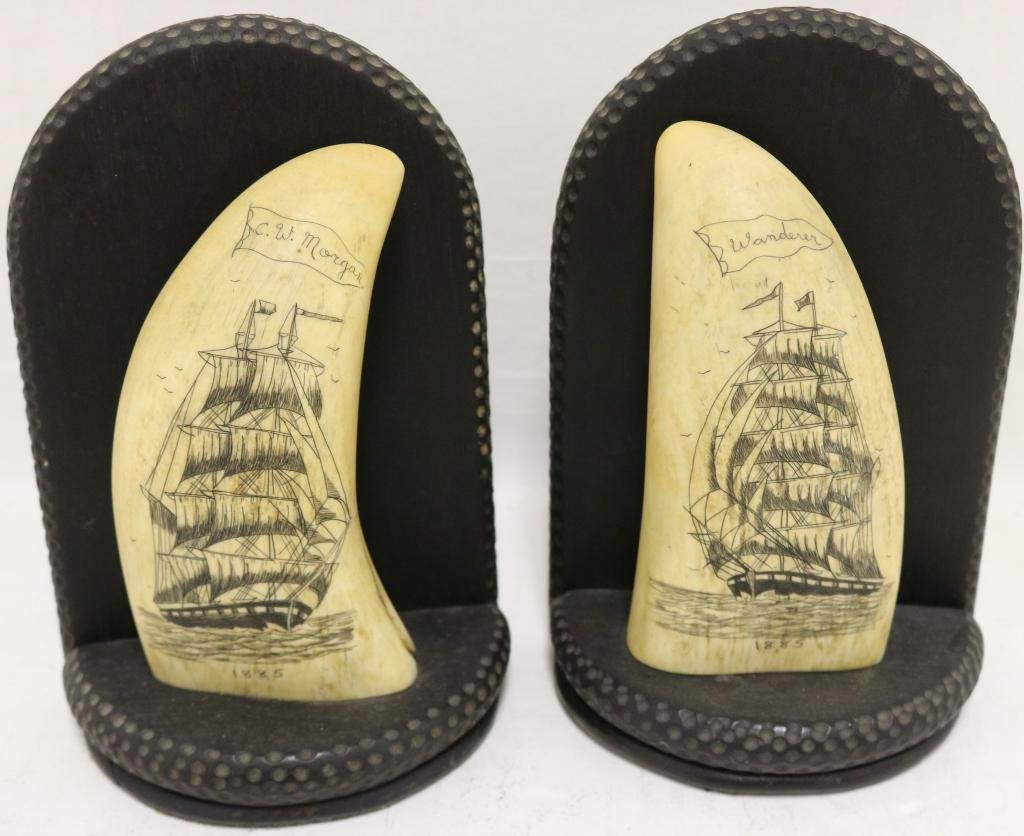 PAIR OF EARLY 20TH C SCRIMSHAW BOOKENDS DEPICTING