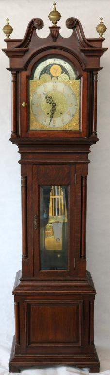LATE 19TH C AMERICAN TALL CASE CLOCK, CARVED OAK
