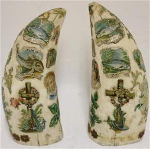 PAIR OF LATE 19TH C WHALES TEETH WITH VICTORIAN