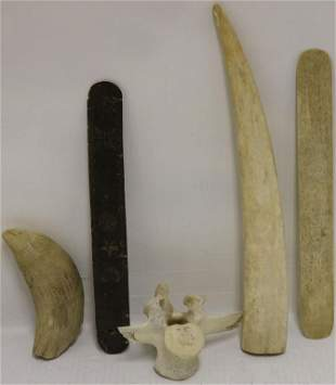 5 PIECE WHALING LOT TO INCLUDE A MID-19TH C