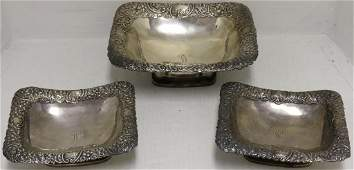 3 GORHAM STERLIING SILVER FOOTED SERVING BOWLS