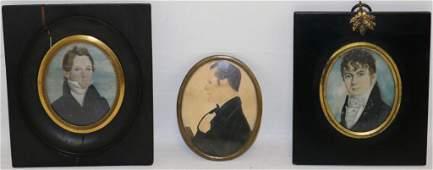 THREE 19TH C MINIATURE PORTRAITS OF GENTLEMEN