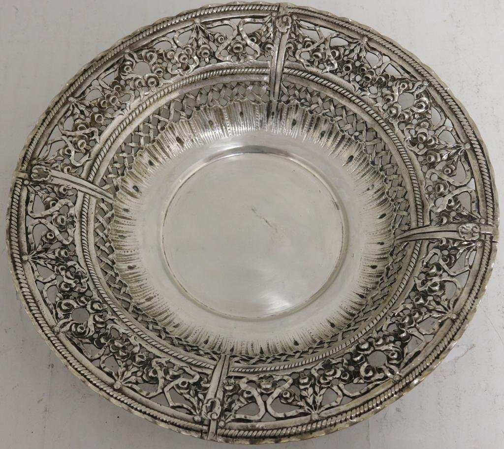 """19TH C GERMAN """"800"""" SILVER BOWL, CHASED AND"""