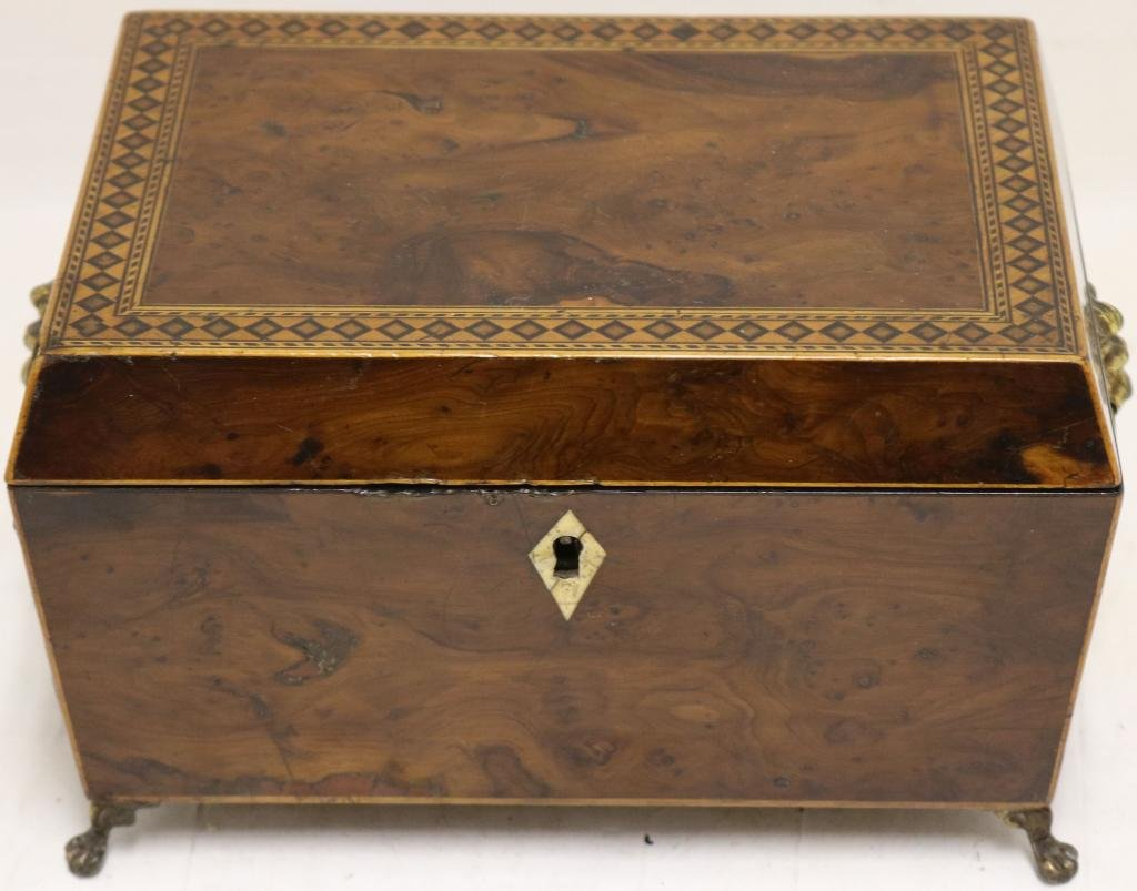 EARLY 19TH C ENGLISH REGENCY SEWING BOX WITH