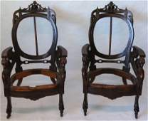 PAIR OF ORNATELY CARVED VICTORIAN ARMCHAIR